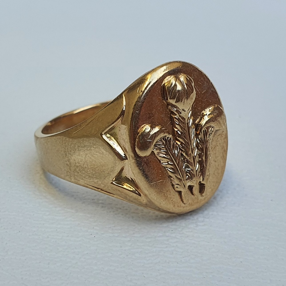 Product photo for 12.05g 9ct YG 3 Feather signet S-T