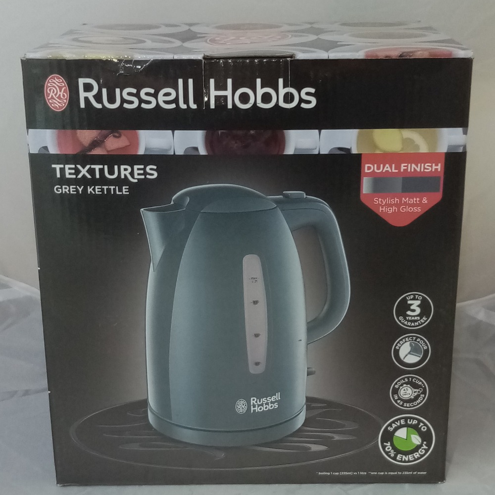 Product photo for Russell Hobbs Textures Grey Kettle