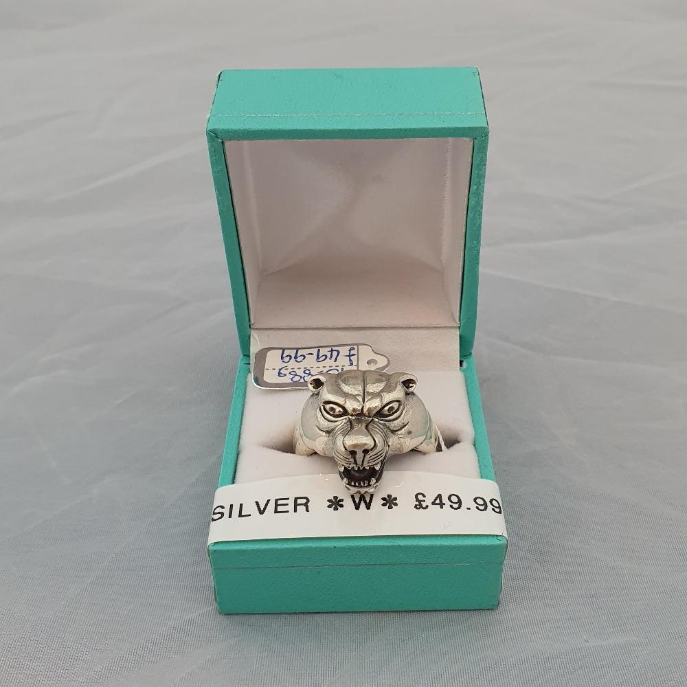 Product photo for Silver Brand New Silver Wolf Ring