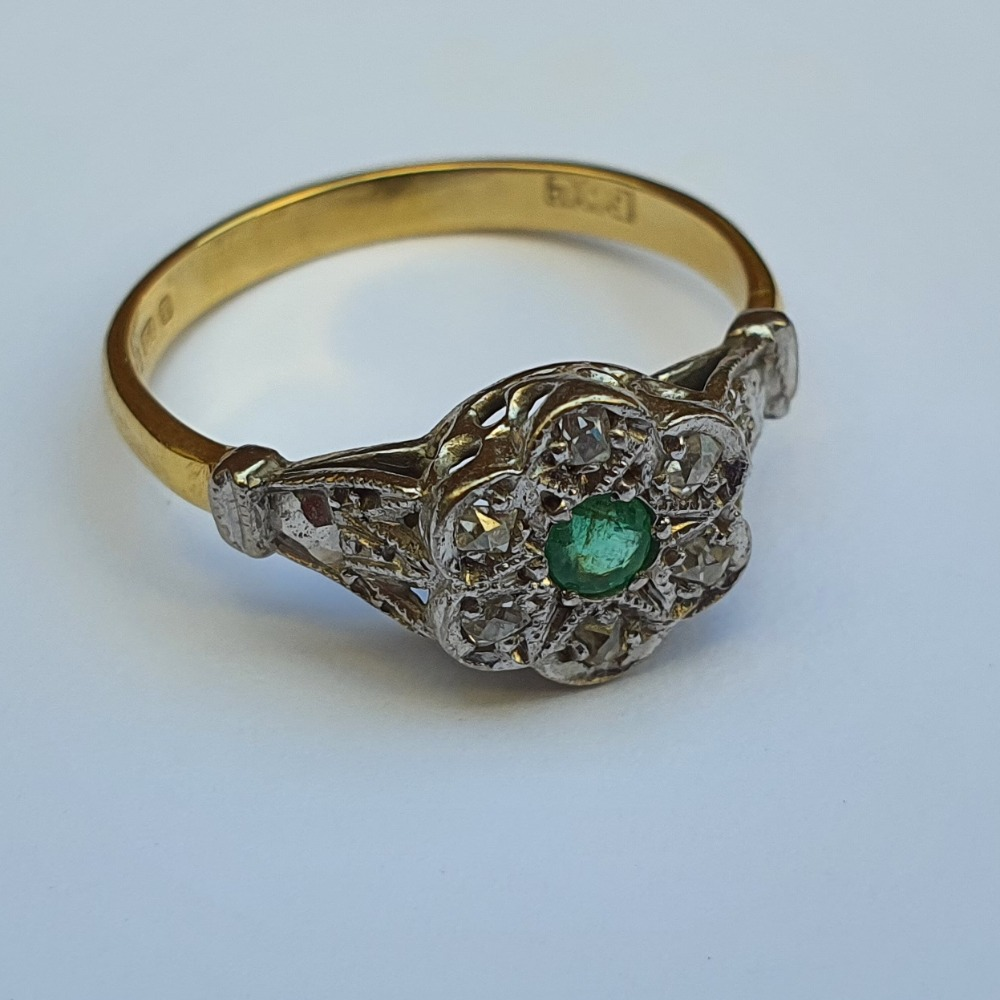 Product photo for 18ct Yellow Gold Diamond & Emerald Flower Cluster Ring