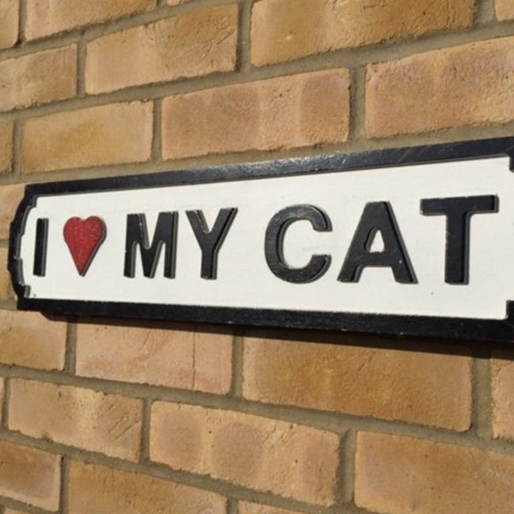 Product photo for I Love My Cat Sign