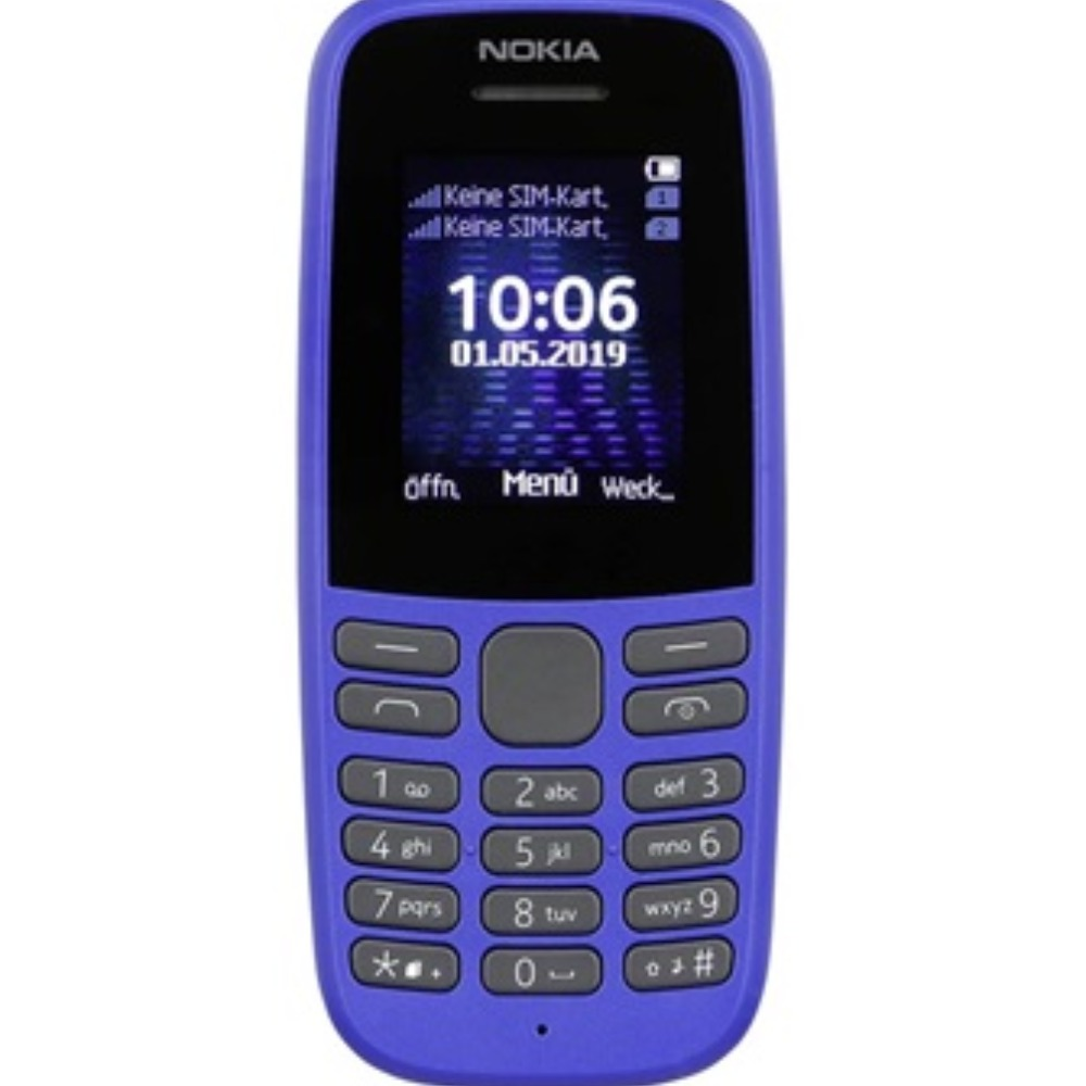 Product photo for Nokia 105 4th Edition UK SIM Free Feature Phone (Single SIM) – Blue