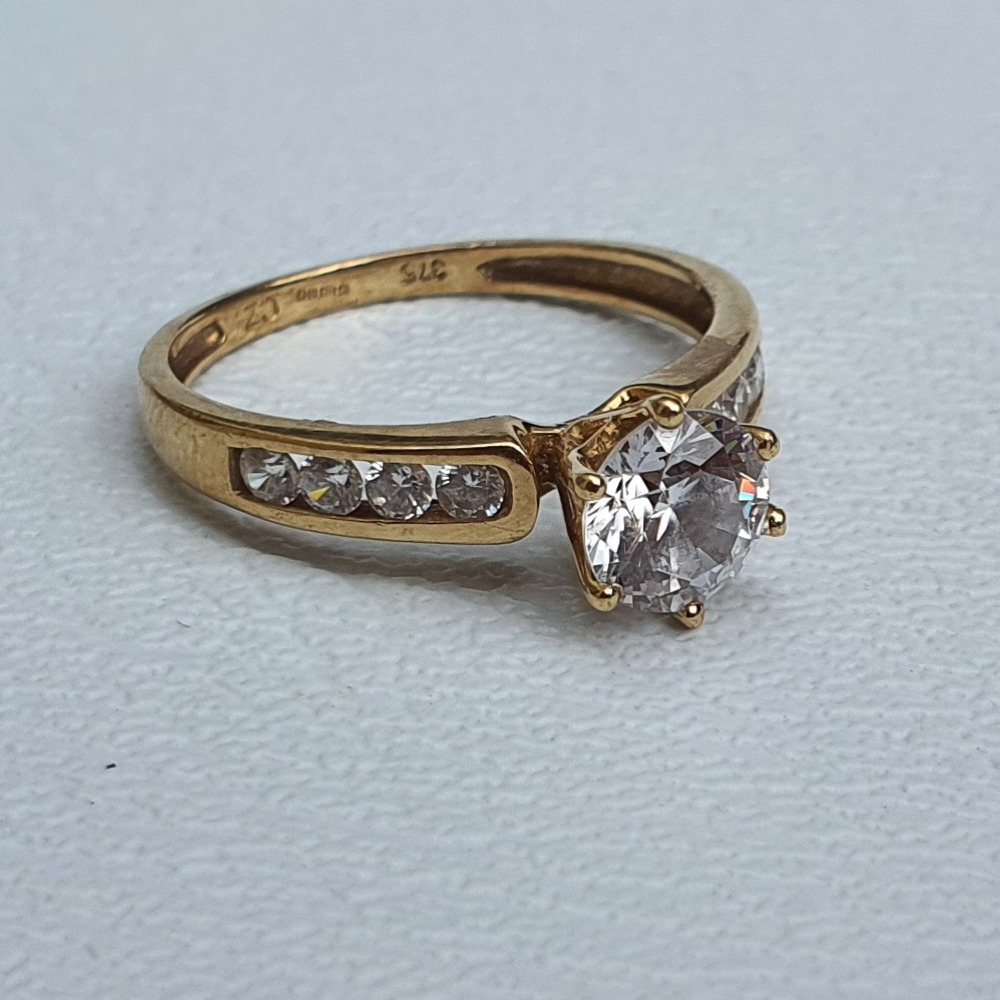 Product photo for 1.97g 9ct Yellow Gold CZ Engagement Ring Size L1/2-M