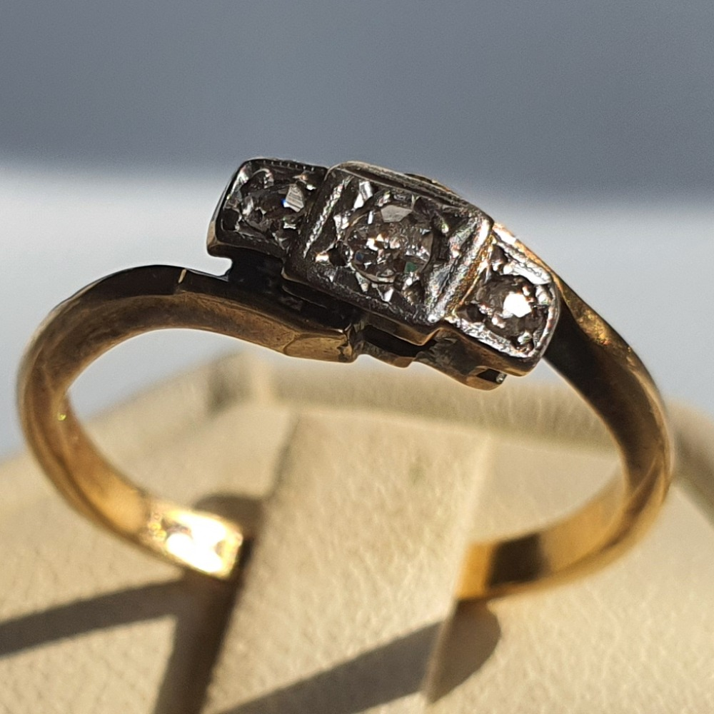 Product photo for 18ct Yellow Gold & Platinum with 3 Old Cut Diamonds Vintage Engagement Ring