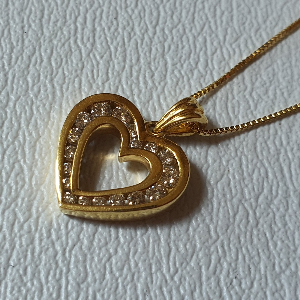 Product photo for 18ct Yellow Gold Diamonds Heart Pendant and Chain Necklace