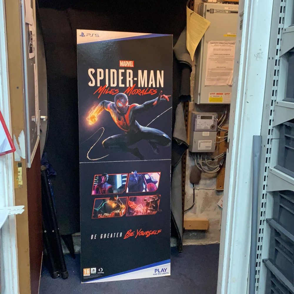 Product photo for PS5 Miles Morales Spiderman Promo Shop display Large Standee