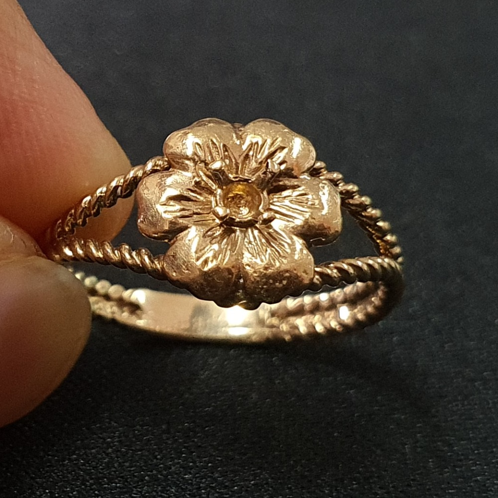 Product photo for 2.00g 9ct Yellow Gold Flower Ring on Rope twisted Band Size N