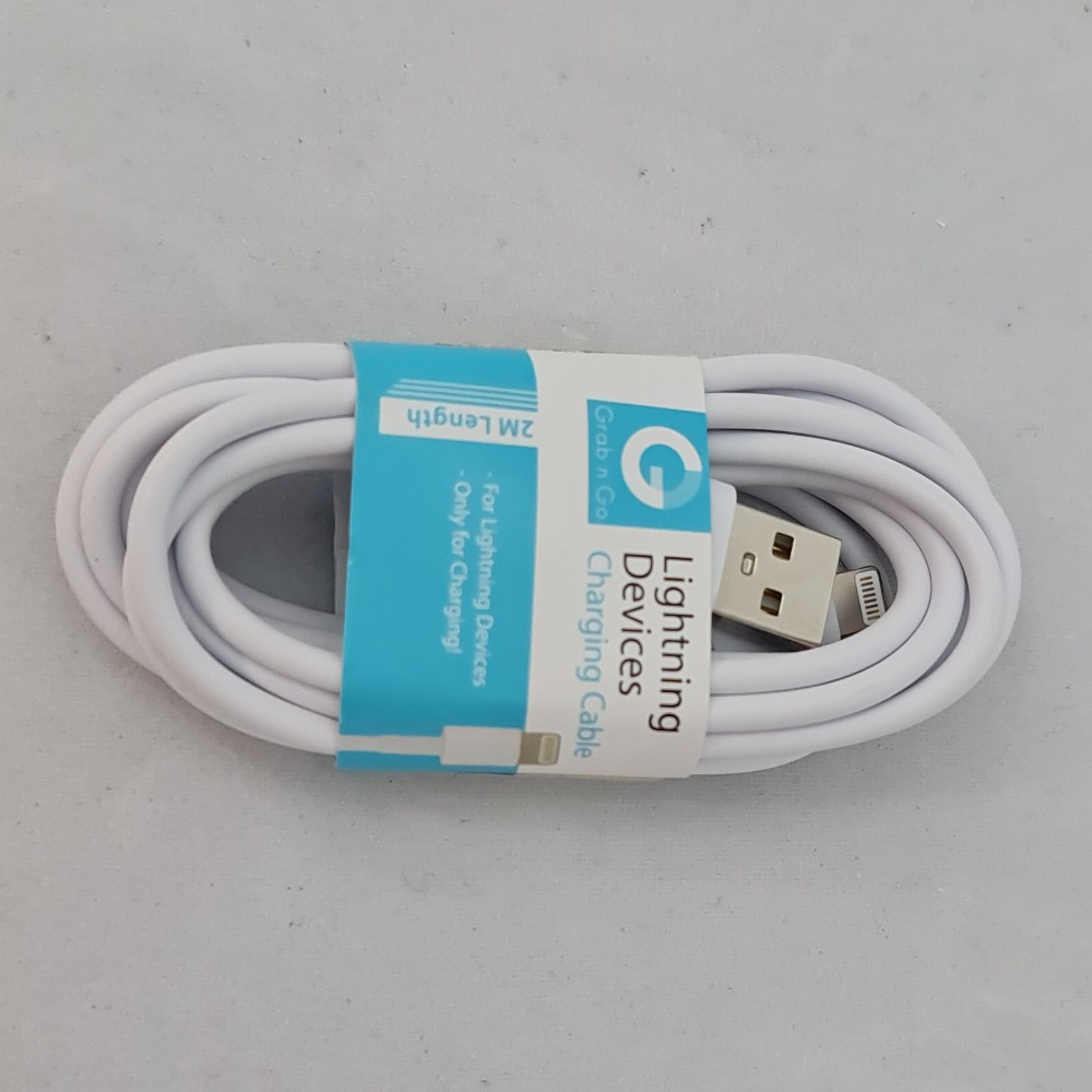 Product photo for Grab and Go Lightning USB 2M DataCable White