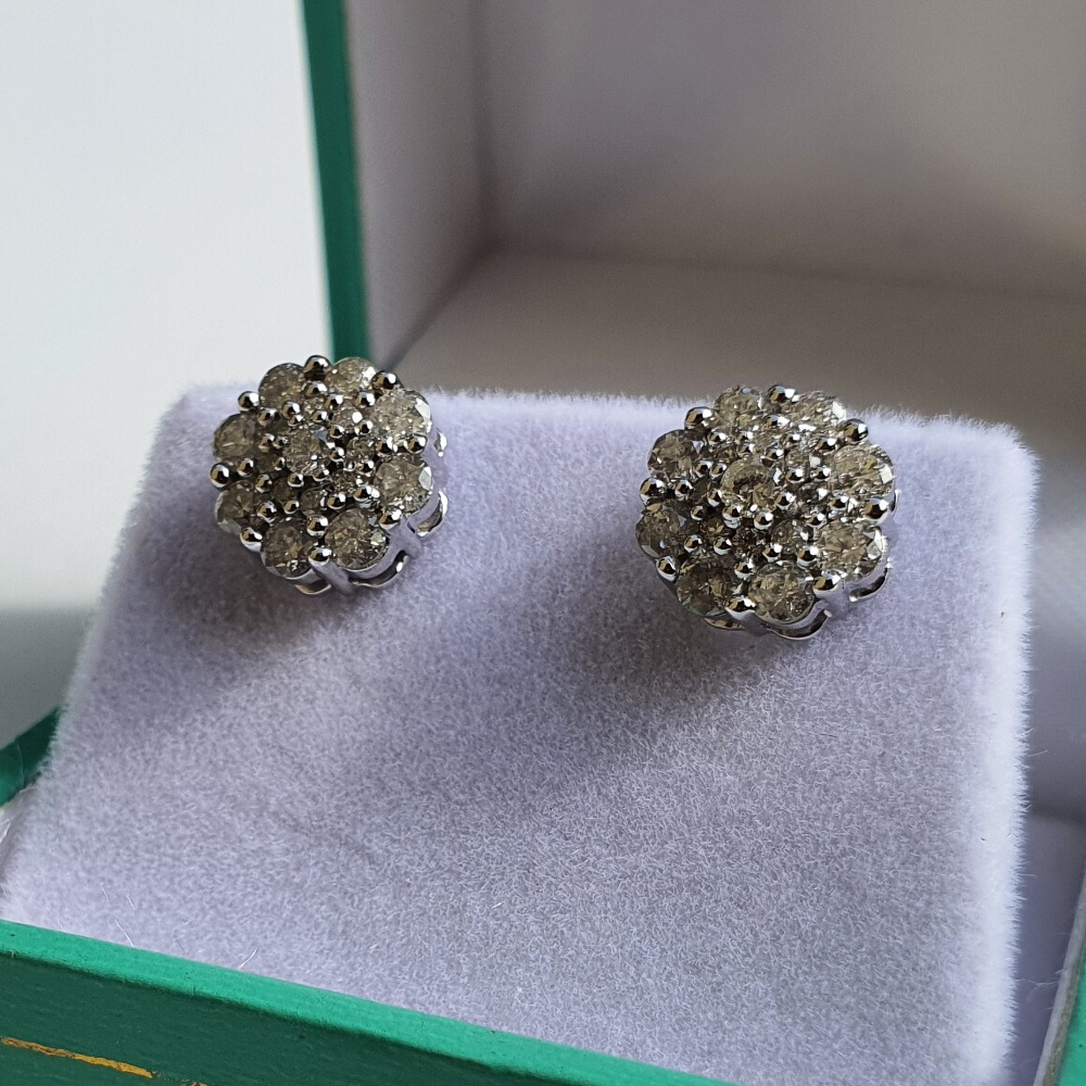 Product photo for 9ct White Gold 1.00ct Diamonds Flowers Cluster Earrings with Certificate