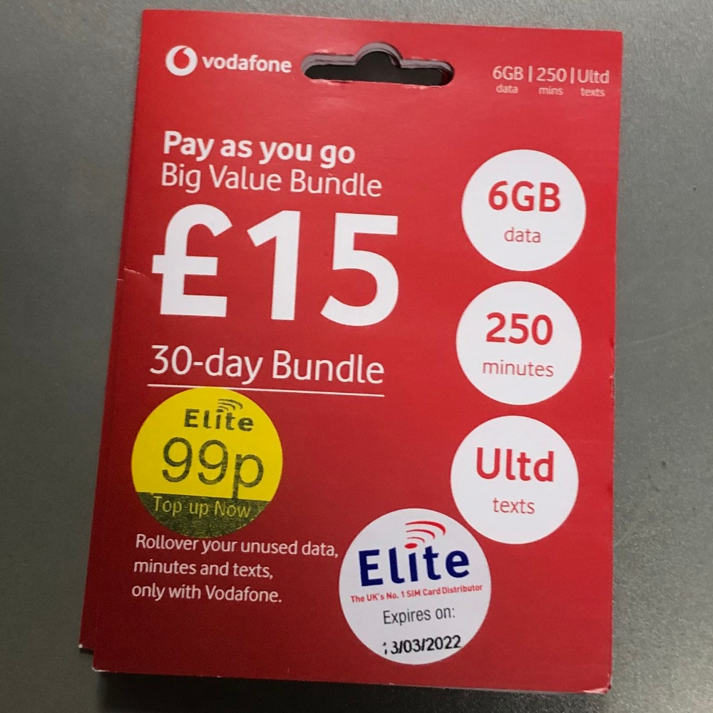 Product photo for Vodafone £15 30 day Sim Card bundle