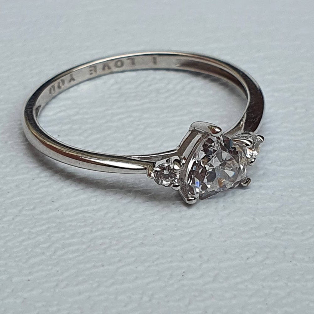 Product photo for 9ct White Gold Heart CZ Engagement Ring Size K-K1/2