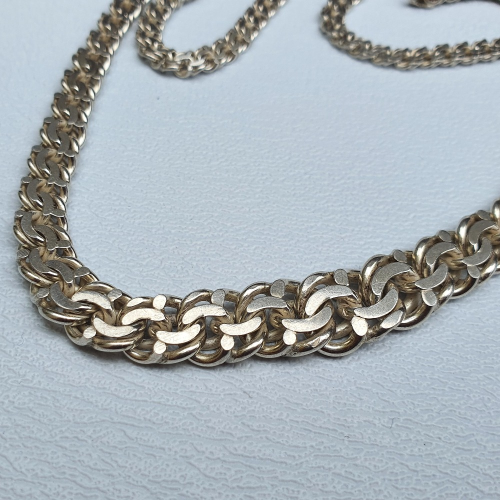 Product photo for 925 Silver Flat Byzantine Graduation Necklace